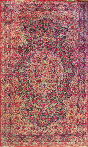 Suspended Persian Kerman Carpet c-1920's