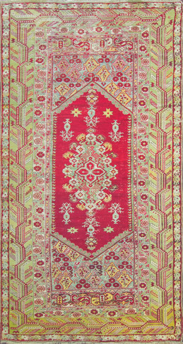 Long Antique Turkish Ghiordes Rug