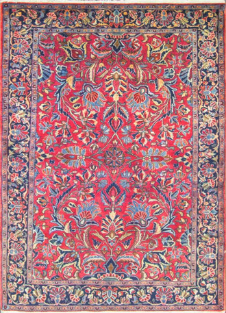 Extraordinary Antique Persian Manchester Wool Mohajeran  Sarouk Rug