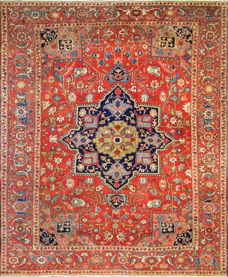 1870's Antique Persian Serapi Rug