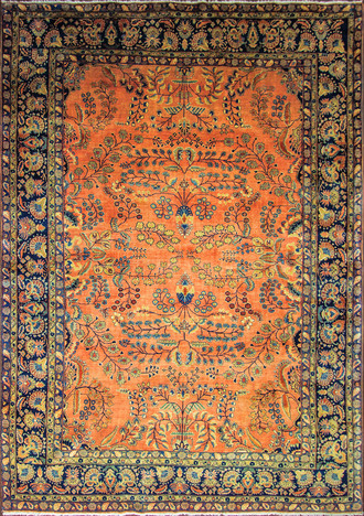 An Antique Sarouk Mohajiran Carpet