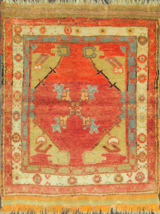 Antique Turkish Oushak Sampler Rug