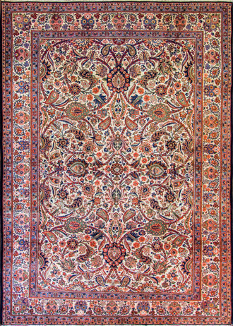 Fine Ivory Persian Kashan