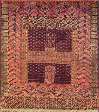 Antique Turkoman Engsi Hatchli Rug