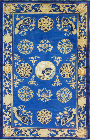 Unusual and Amazing Antique Chinese Peking Carpet