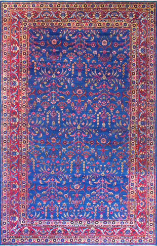 Antique Persian Laver Kerman Carpet, Amazing Color