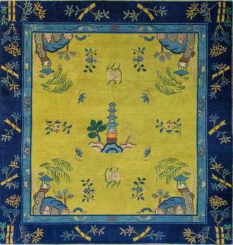 Antique Unusual Art Deco Chinese Carpet