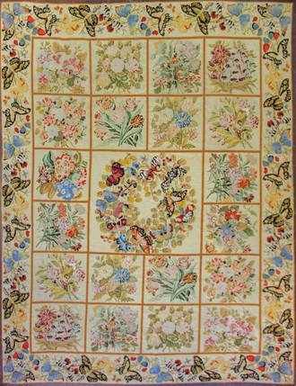 Stunning Antique English Butterfly Needlework Carpet