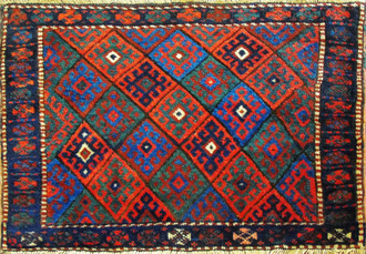 Antique Kurdish Rug, Bag Size