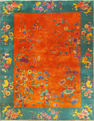Antique Art deco Chinese carpet, Sun And Earth