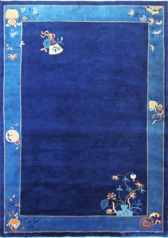 Art Deco Chinese Carpet, Blue Peking