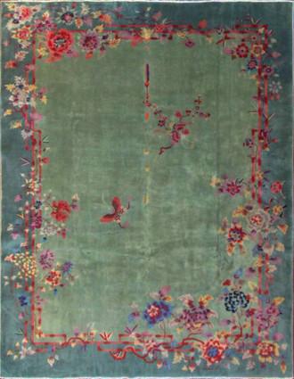 Antique Art Deco Carpet, Two love Butterflies