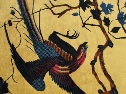 Blue Bird and Tree Motif Closeup